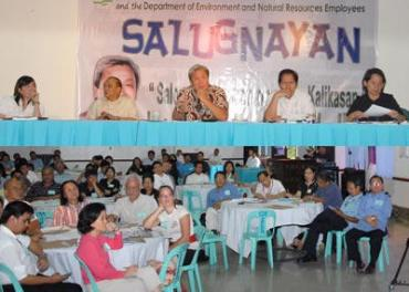 "Environment and Natural Resources Secretary Lito Atienza (center, top photo) meets with 206 delegates representing more than 100 environment-oriented non-government organizations during the second round of dialogue dubbed as ""SALUGNAYAN"" or SALo-salo at UGNAYan para sa KalikasAN at the Department's Social Hall in Quezon City. Atienza asked the NGO leaders to help reinvigorate the Pasig River, Manila Bay and Laguna Lake."